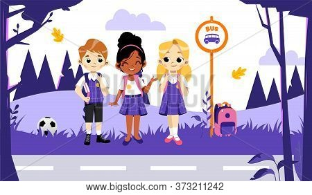 Back To School Concept. Kids Ready To Study In New Academic Year. Self Confident Classmates In Styli