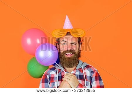 Happy Birthday. Party Time. Man With Balloons. Celebrating Concept. Joy, Fun And Happiness Concept.