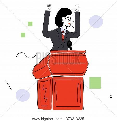 A Female Politician In A Business Suit Behind The Podium Makes A Speech. Vector Illustration With Co