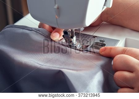 A Man Hem A Curtain On Sewing Machine. Sewing, Hobbies, Hobby, Home Improvement.