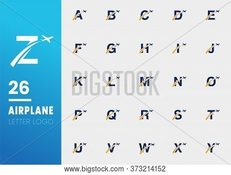 Initial Letters Travel Logo Design With Airplane And Swoosh Icon Isolated On Grey Background