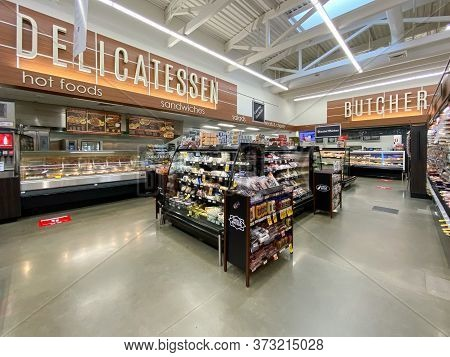 Interior View Of A Supermarket With Aisle With Shelves Full Of Bakery Variety Of Products, Vons Supe