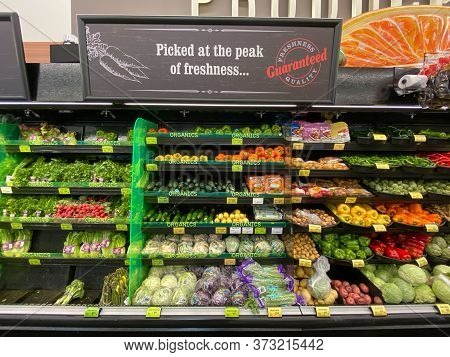 Organic Vegetables Proucts Section At The Supermarket, Vons Supermarket, Catalina, Usa, June 20th, 2
