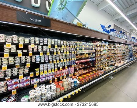 Interior View Of A Supermarket With Aisle With Shelves Full Of Variety Of Products, Vons Supermarket