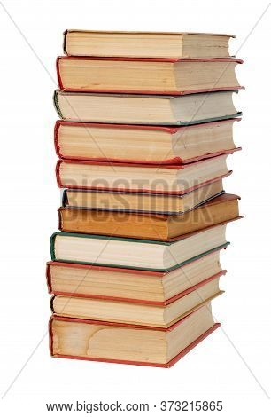 Old Paper Books Stack Isolated On White Background, Close-up