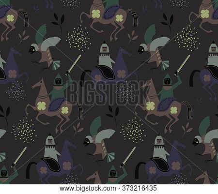 Myth And Legends Pattern Seamless Design Illustration. Fabric And Wallpaper Series.
