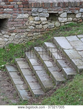 Old Grey Stone Stairs In Park Outdoor