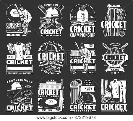 Cricket Sport Vector Icons With Balls, Bats And Game Players On Stadium Field. Cricket Championship