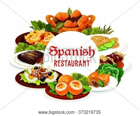 Spanish Cuisine Meat And Fish Vector Food With Vegetables. Seafood Paella, Beef Kabob On Skewers And