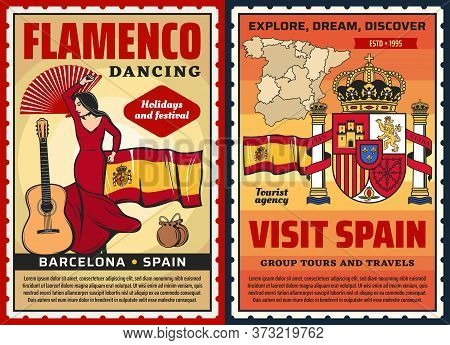 Spanish Flamenco Dance And Museum, Vector Spain Travel And Tourism. Spanish Flamenco Dancer With Bar