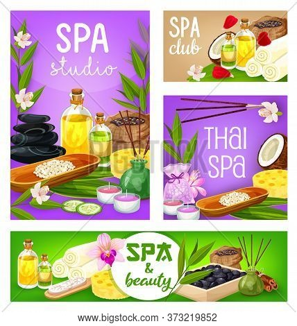 Spa Salon, Body Care, Health And Beauty Treatment. Vector Massage Stones, Face Skin And Hair Therapy