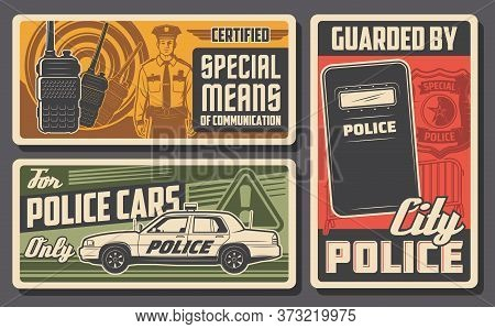 Police Force, Patrol And Policing Vector Design Of Law And Order. Police Officer, Policeman Or Secur