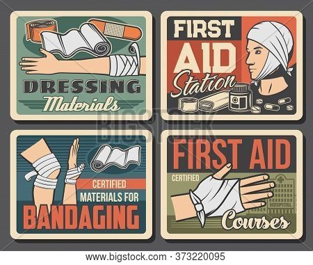 Wound And Injury Bandaging Vector Design Of First Aid Medical Treatments. Broken Hand Or Arm, Injure