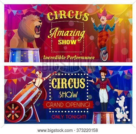 Circus Performers Of Chapiteau Carnival Show Cartoon Vector. Clown Acrobat, Animal Trainer And Rocke