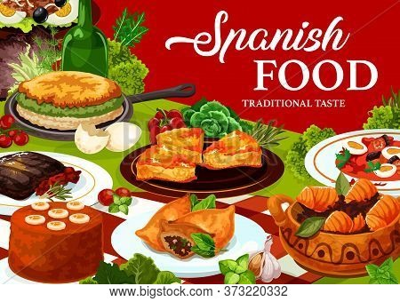 Spanish Cuisine Food Vector Design With Restaurant Dishes. Beef Meat Steak, Fish Vegetable Salads Wi