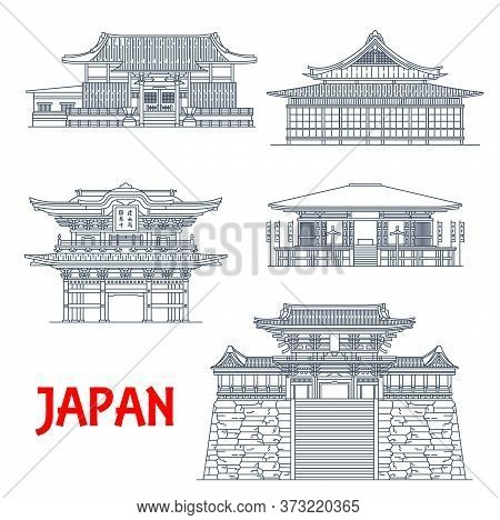 Japan Temples, Japanese Pagoda Buildings, Architecture Landmarks And Vector Buddhist Shrines. Japan