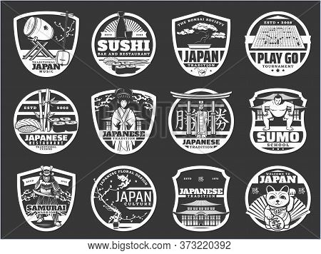 Japan Religion, History And Culture, Japanese Sushi Cuisine, Travel Landmarks Vector Icons. Japanese