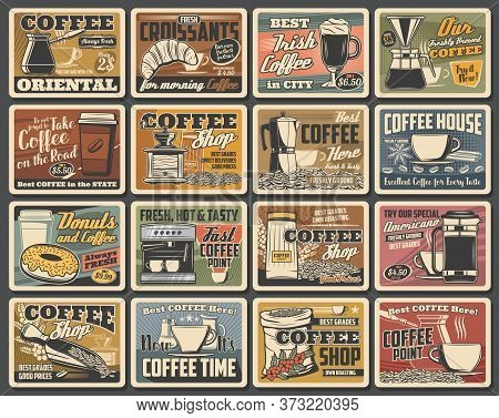 Coffee Retro Posters, Coffee Makers, Cafe And Cafeteria Vector Vintage Signs. Coffeehouse Hot Takeaw