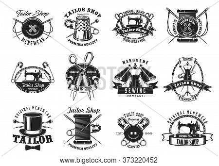 Tailor Shop, Atelier Dressmaker Sewing, Vector Needle Icons. Handmade Tailor Shop Labels With Sewing