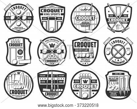 Croquet Sport Icons, Equipment And Items, Country Team Club Tournament Vector Emblem. Croquet Playin