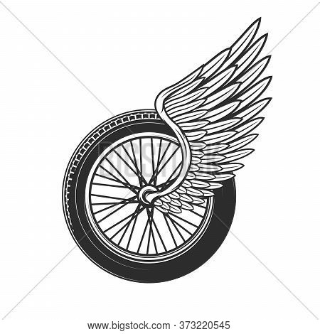 Wheel With Wing, Racing Symbol Or Tattoo, Speedway Racing Club, Car And Motorcycle Rally Races Icon.