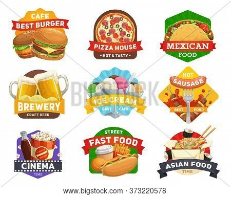 Fast Food Icons, Burgers Menu, Restaurant Hamburgers, Drinks, Snacks And Sandwiches, Cinema, Bar Vec