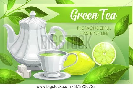Green Tea, Lime And Leaves, Tea Pot And Hot Drink Cup, Vector Poster And Teabag Package Design. Hand