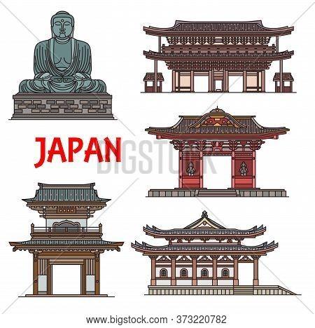 Japanese Temples, Jpanese Pagodas And Building Architecture Landmarks In Kamakura, Kanagawa, Vector.