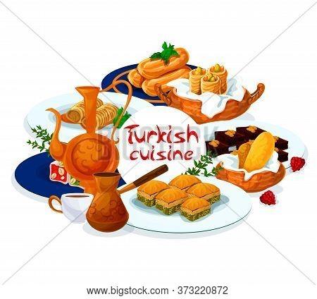 Turkish Cuisine Food Menu, Baklava And Delight Lokum, Turkey Eastern Desserts And Sweet Pastry. Turk
