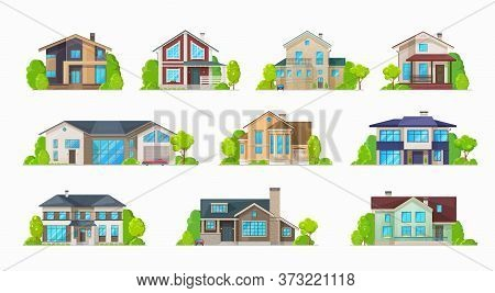 Home Houses, Villa Bungalows And Condominiums, Real Estate Buildings Vector Icons. Private Houses An