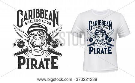 Pirate Corsair T-shirt Print Mockup, Filibuster Privateer Or Buccaneer, Sailing Club Sign. Caribbean