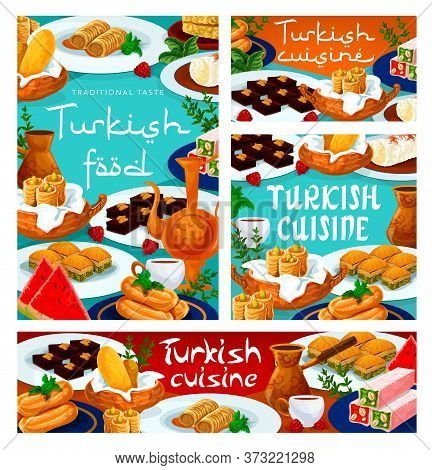 Turkish Cuisine Food, Baklava Dessert, Coffee And Tea Drinks With Pastry Sweets, Vector Menu. Turkis