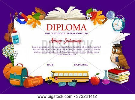 School Diploma Or College Education Certificate With Student Stationery, Vector Template. College, K