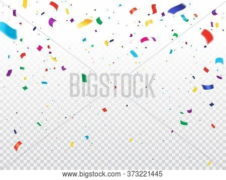 Holiday Background With Confetti. Vector Flying And Falling Colorful Paper Confetti On Transparent B