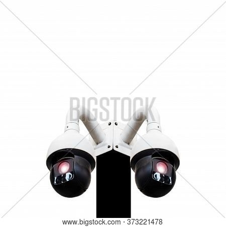 360-degree Cctv Camera, Technology On A Pole Separated From The Back, Cut Out, Security System With