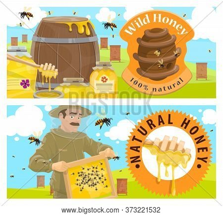Beekeeping Farmer, Apiary Honey Vector Banner. Agriculture Apiculture And Beekeeper Hobby. Beekeeper