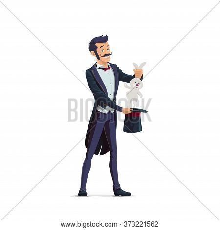 Big Top Circus Magician Cartoon Vector Character. Performing Stage Magician In Tailcoat, Pulling Rab