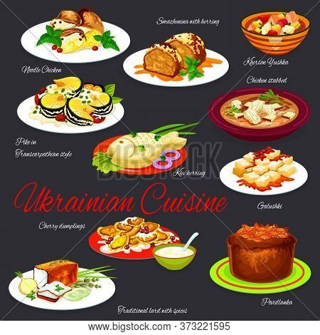 Ukrainian Cuisine Vector Set, Restaurant Menu Cover With Traditional Dishes. Roasted Herring, Kherso