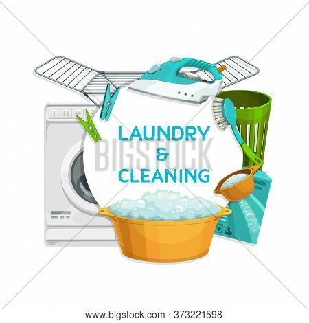 Washing And Ironing Clothing, Laundry And Cleaning Items Vector Banner. Washing Machine, Iron, Clean