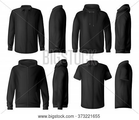 Man Casual Clothes, Wear Vector Mockup Set. Classic Black Shirt With Long And Short Sleeves, Sweatsh