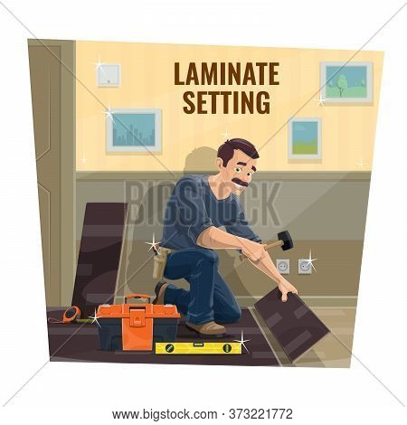Laminate Flooring Installer Worker, House Renovation. Home Repair Service, Flooring Service Worker O