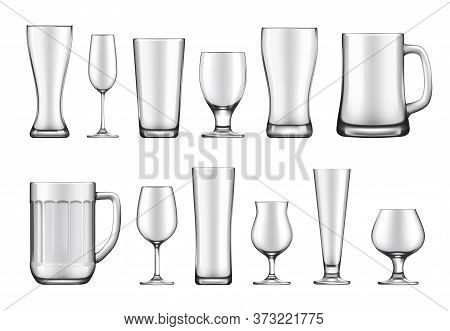 Glass Goblet, Mug And Jar Realistic Vector Mockup Set. Wineglass And Flute, Beer Weizen, Pilsner And