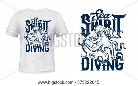 Octopus Mascot T-shirt Print Vector Mockup. Scary Octopus, Ocean Mollusk, Deep Water Monster With Te