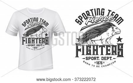 Porcupine Animal Mascot T-shirt Print Vector Mockup. Emblem With Angry Porcupine, Rodent Covered Spi
