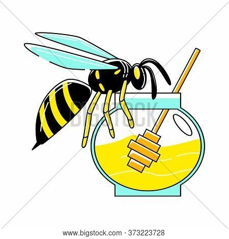 Vector Abstract Wasp Sitting On Jar Of Honey.