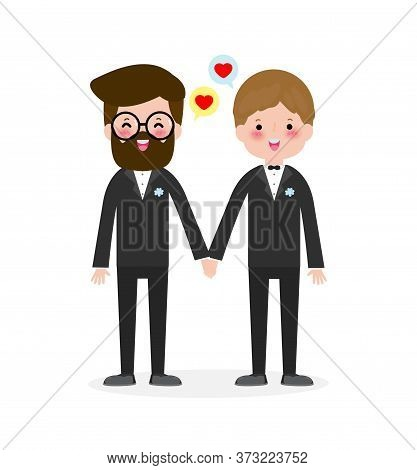 Happy Gay Couple In Wedding Attire And Vector Flat Modern Style Illustration Design Clip Art Isolate