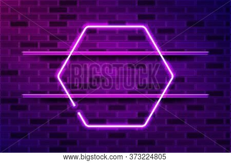 Hexagonal Glowing Purple Neon Frame. Realistic Vector Illustration. Purple Brick Wall, Violet Glow,
