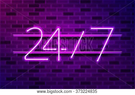 24 Hours, Convenience Store Glowing Neon Sign Or Led Strip Light. Realistic Vector Illustration. Pur