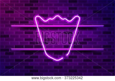 Pentagonal Shield, Mountain Shaped Top Glowing Neon Sign Or Led Strip Light. Realistic Vector Illust