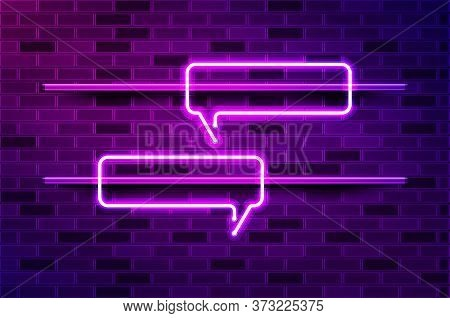 Narrow Horizontal Square Speech Bubble Glowing Neon Sign Or Led Strip Light. Realistic Vector Illust